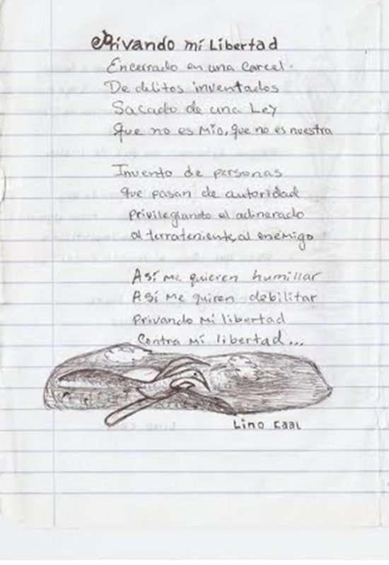 Carta de Abelino Caal desde el Centro Preventivo para Hombres en la Zona 18 de la ciudad capital de Guatemala.