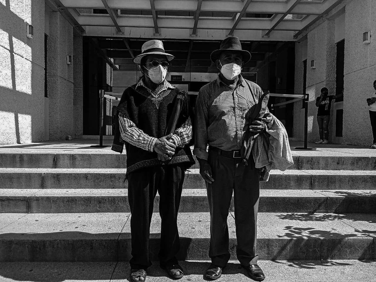 Rigoberto Juárez Mateo y Domingo Baltazar Hernández, autoridades ancestrales Maya Q'anjob'al